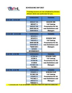 schedule for scheduling day 2017 lower lakes female hockey league